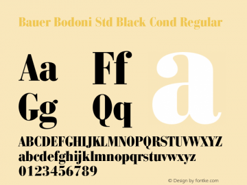 Bauer Bodoni Std Black Cond Regular OTF 1.029;PS 001.001;Core 1.0.33;makeotf.lib1.4.1585图片样张