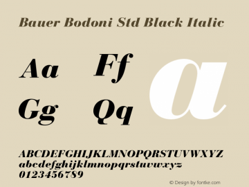 Bauer Bodoni Std Black Italic OTF 1.029;PS 001.001;Core 1.0.33;makeotf.lib1.4.1585图片样张