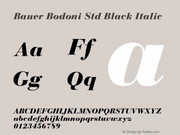 Bauer Bodoni Std Black Italic Version 2.030;PS 002.000;hotconv 1.0.51;makeotf.lib2.0.18671图片样张