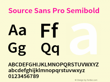 Source Sans Pro Semibold Regular Version 1.050;PS 1.000;hotconv 1.0.70;makeotf.lib2.5.5900图片样张