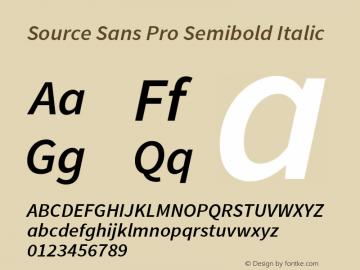 Source Sans Pro Semibold Italic Version 1.050;PS 1.000;hotconv 1.0.70;makeotf.lib2.5.5900图片样张