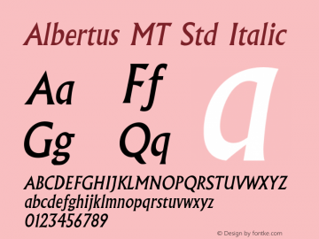 Albertus MT Std Italic Version 1.047;PS 001.001;Core 1.0.38;makeotf.lib1.6.5960图片样张
