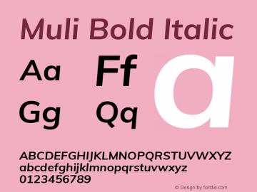 Muli Bold Italic Version 2.000图片样张