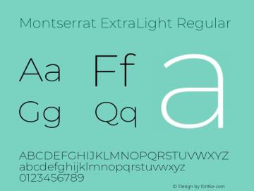 Montserrat ExtraLight Version 7.200图片样张