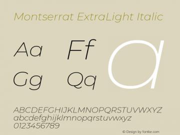 Montserrat ExtraLight Italic Version 7.200图片样张