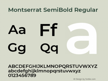 Montserrat SemiBold Version 7.200图片样张