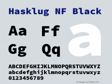 Hasklug Black Nerd Font Complete Windows Compatible Version 2.032;hotconv 1.0.117;makeotfexe 2.5.65602图片样张