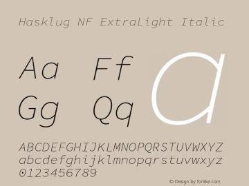 Hasklug ExtraLight Italic Nerd Font Complete Mono Windows Compatible Version 1.052;hotconv 1.0.117;makeotfexe 2.5.65602图片样张