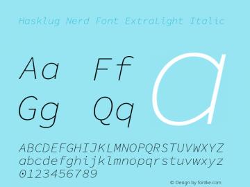 Hasklug ExtraLight Italic Nerd Font Complete Version 1.052;hotconv 1.0.117;makeotfexe 2.5.65602图片样张
