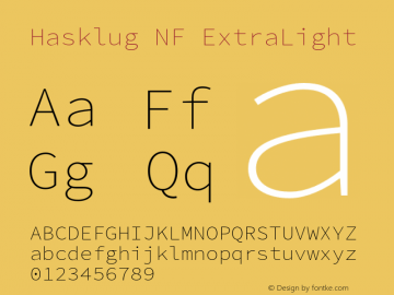 Hasklug ExtraLight Nerd Font Complete Mono Windows Compatible Version 2.032;hotconv 1.0.117;makeotfexe 2.5.65602图片样张
