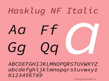 Hasklug Italic Nerd Font Complete Mono Windows Compatible Version 1.052;hotconv 1.0.117;makeotfexe 2.5.65602图片样张