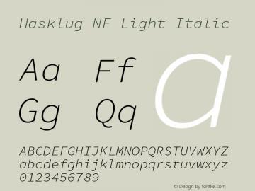 Hasklug Light Italic Nerd Font Complete Mono Windows Compatible Version 1.052;hotconv 1.0.117;makeotfexe 2.5.65602图片样张