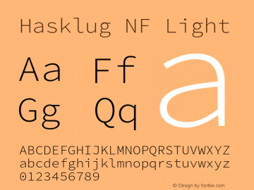 Hasklug Light Nerd Font Complete Windows Compatible Version 2.032;hotconv 1.0.117;makeotfexe 2.5.65602图片样张