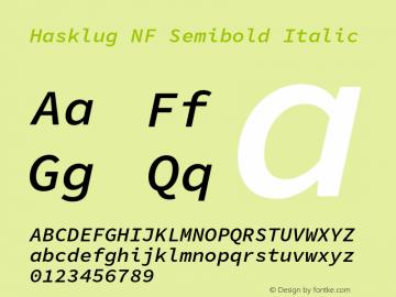 Hasklug Semibold Italic Nerd Font Complete Mono Windows Compatible Version 1.052;hotconv 1.0.117;makeotfexe 2.5.65602图片样张