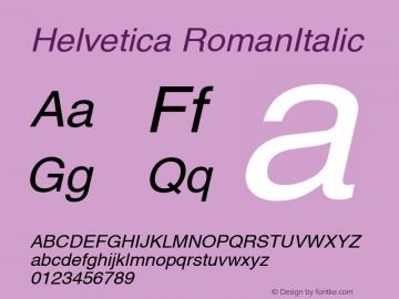 Helvetica RomanItalic Version 1.00 Font Sample