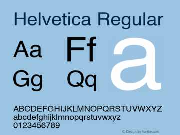 Helvetica Regular 4.1d2 Font Sample