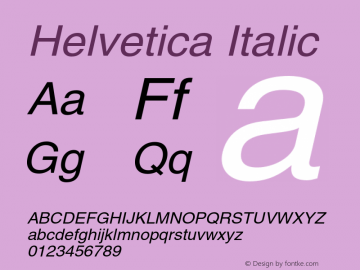 Helvetica Italic OTF 1.0;PS 003.000;Core 1.0.22 Font Sample