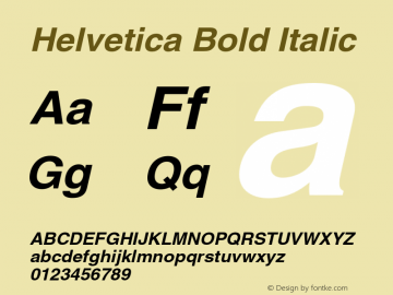 Helvetica Bold Italic OTF 1.0;PS 003.000;Core 1.0.22 Font Sample