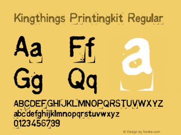 Kingthings Printingkit Regular 1.0 Font Sample
