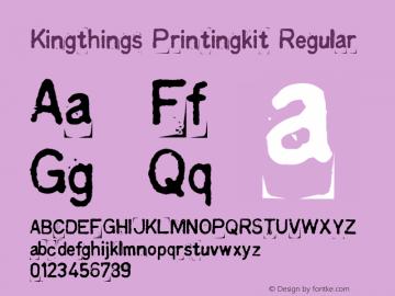 Kingthings Printingkit Regular 1.0 Font Sample