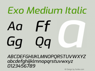 Exo Medium Italic Version 2.000; ttfautohint (v1.8.3)图片样张