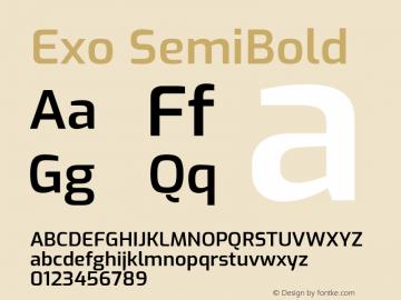 Exo SemiBold Version 2.000; ttfautohint (v1.8.3)图片样张