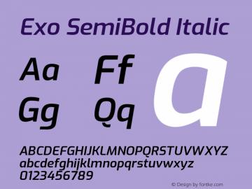 Exo SemiBold Italic Version 2.000; ttfautohint (v1.8.3)图片样张