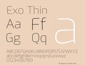 Exo Thin Version 2.000; ttfautohint (v1.8.3)图片样张