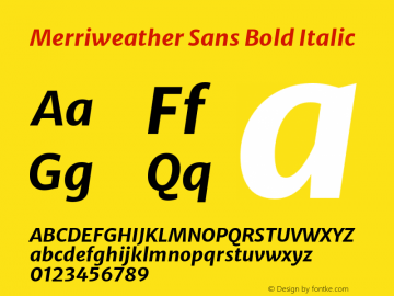 Merriweather Sans Bold Italic Version 2.000; ttfautohint (v1.8.3)图片样张