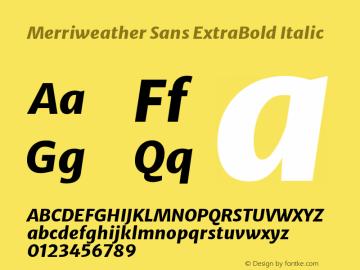 Merriweather Sans ExtraBold Italic Version 2.000; ttfautohint (v1.8.3)图片样张