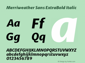 Merriweather Sans ExtraBold Italic Version 2.000图片样张