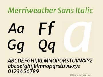 Merriweather Sans Italic Version 2.000; ttfautohint (v1.8.3)图片样张