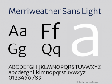 Merriweather Sans Light Version 2.000; ttfautohint (v1.8.3)图片样张