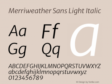 Merriweather Sans Light Italic Version 2.000图片样张