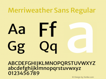Merriweather Sans Regular Version 2.000图片样张