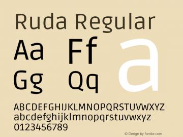 Ruda Regular Version 2.001图片样张