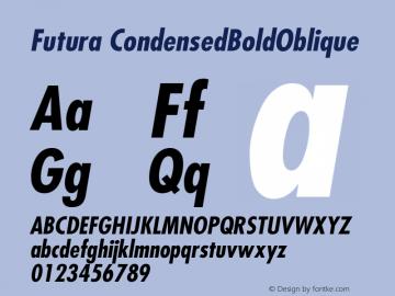 Futura CondensedBoldOblique Version 001.003 Font Sample