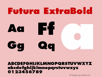 Futura ExtraBold Version 001.000 Font Sample