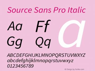Source Sans Pro Italic Version 1.095;hotconv 1.0.109;makeotfexe 2.5.65596图片样张