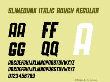SLIMEDUNK ITALIC ROUGH Version 1.000;September 29, 2021;FontCreator 14.0.0.2794 64-bit图片样张
