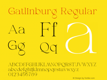 Gatlinburg-Regular Version 1.002;Fontself Maker 3.5.7图片样张