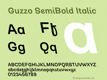 Guzzo SemiBold Italic Version 1.00图片样张