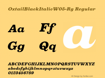 Oxtail BlackItalic W05 Regular Version 3.10图片样张