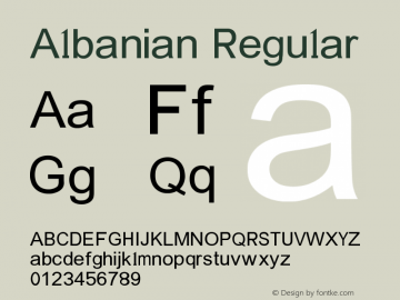 Albanian Regular Version 2.00 January 6, 2015 Font Sample