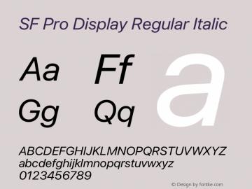 SF Pro Display Regular Italic Version 17.0d11e1图片样张