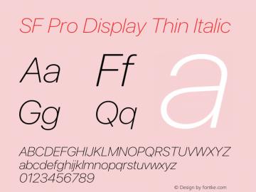 SF Pro Display Thin Italic Version 17.0d11e1图片样张