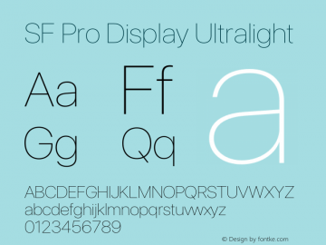 SF Pro Display Ultralight Version 17.0d11e1图片样张