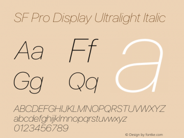 SF Pro Display Ultralight Italic Version 17.0d11e1图片样张