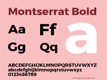 Montserrat Bold Version 1.000;PS 002.000;hotconv 1.0.70;makeotf.lib2.5.58329 DEVELOPMENT; ttfautohint (v1.4.1)图片样张