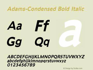 Adams-Condensed Bold Italic 1.000 Font Sample